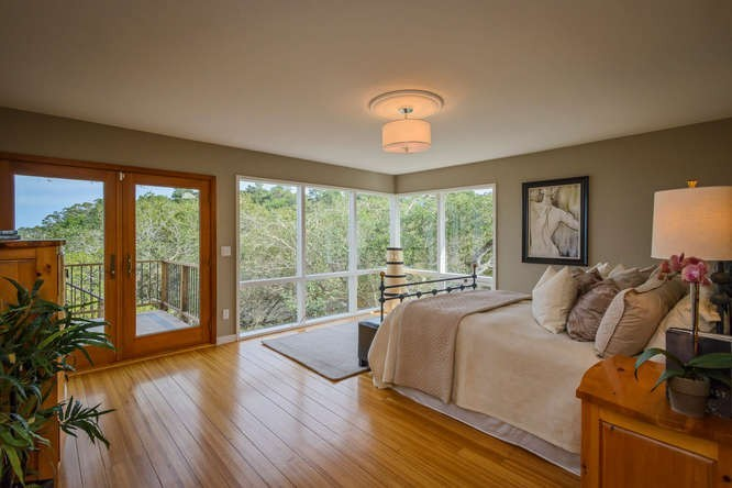 master bedroom with bay views